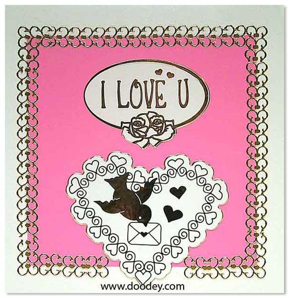 love card with bird and I love U