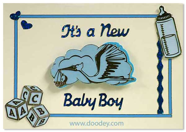 birth card stork boy