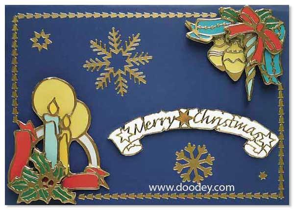 christmas card bell and snowflake