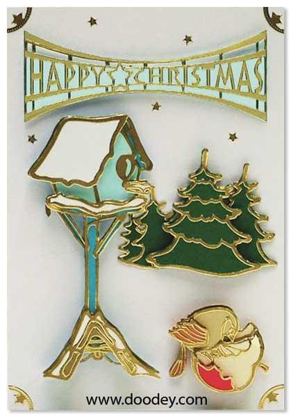 christmas card birdhouse