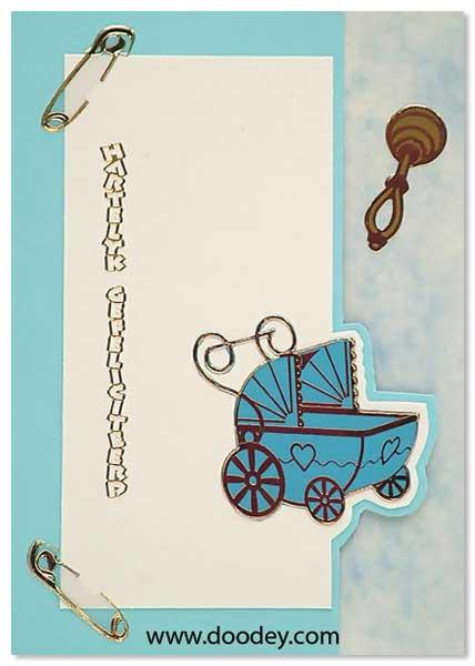 birth card pram boy