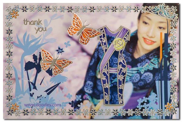 thank you card chinees dress with butterfly
