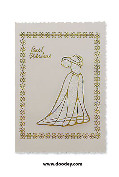 best wishes card flower border and dress