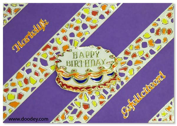 card mosaic with cake