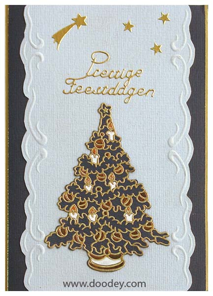 christms card tree with falling stars