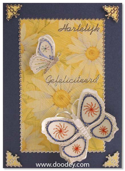 Happy birthday embroidery card butterfly with corn