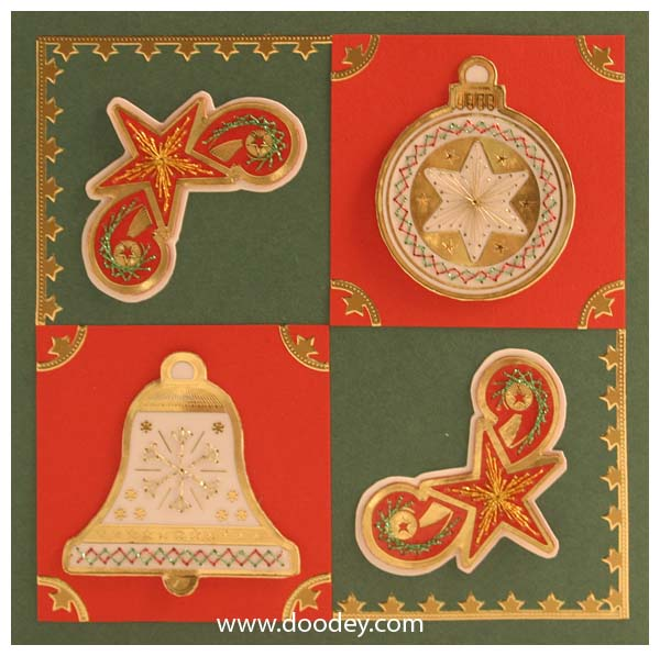 christmas embroidery card stars bauble and bel