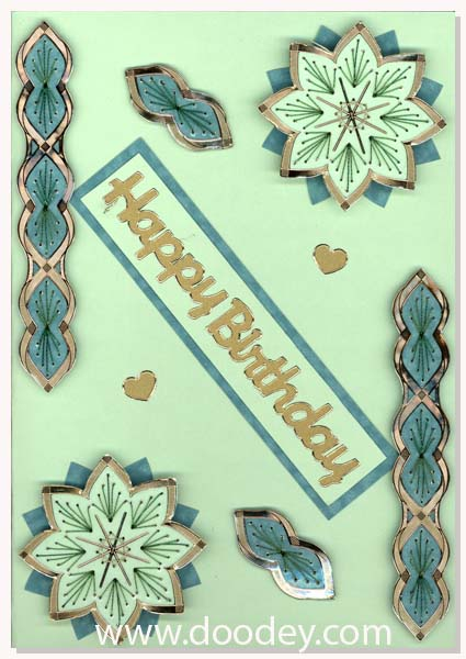 Happy birthdy embroidery card flower and border