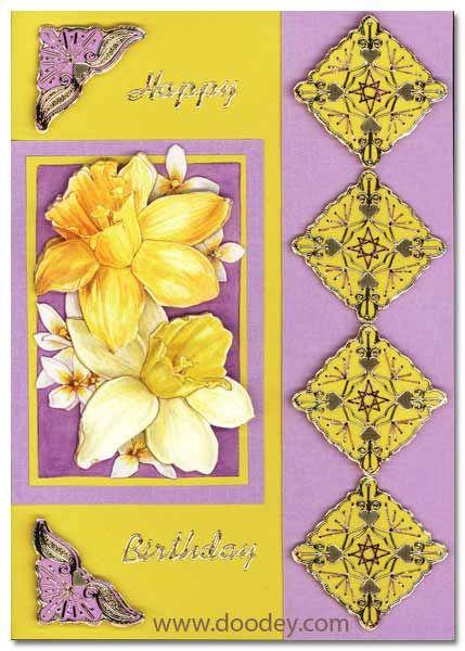 birthday card embroidery corners heart