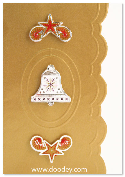 embroidery card christmas with bell and star corne