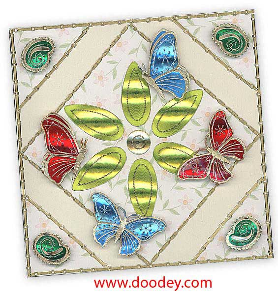 embroiders butterflies with flower