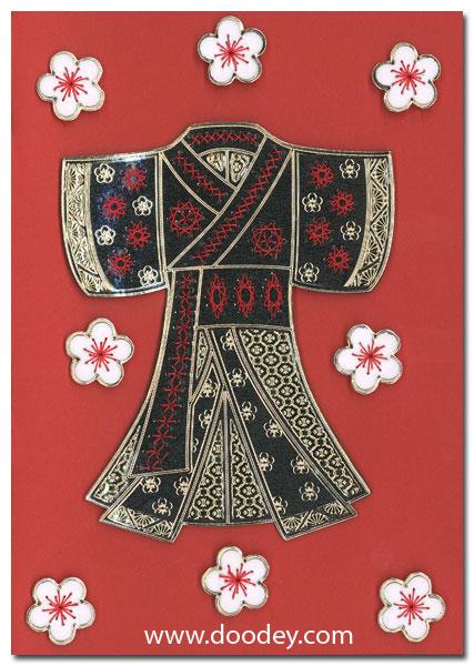 card with kimono