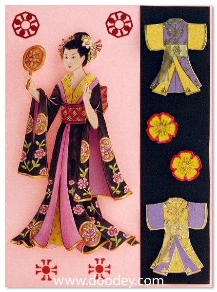 card geisha with kimonos para