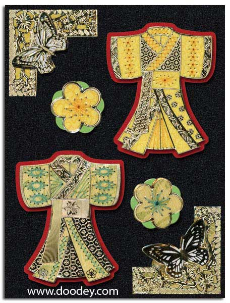 card with 2 kimonos