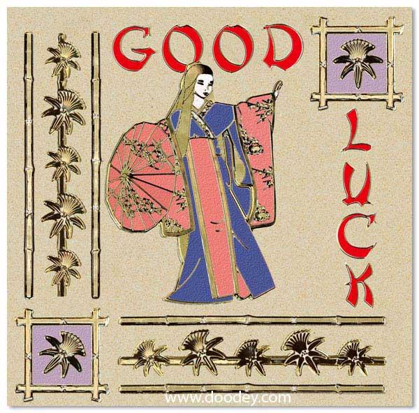 card good luck with geisha