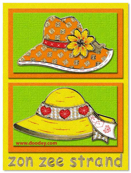 card sun sea beach with hats
