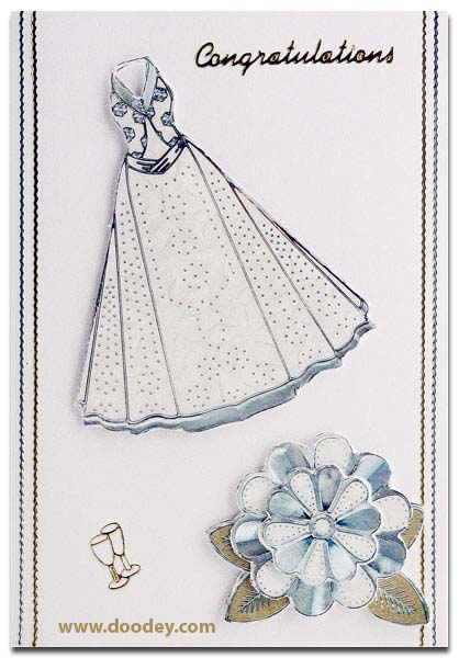 card congratulations with dress and flower