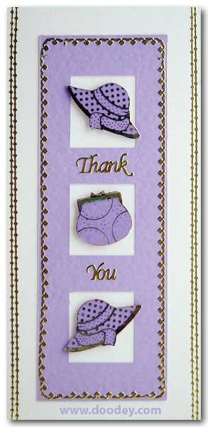 card thank you with hats