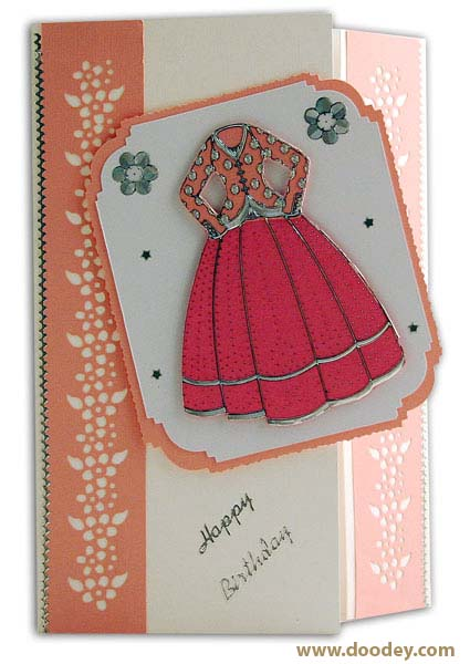 card happy birthday with dress and flowers