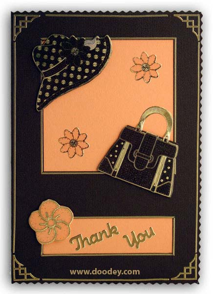 card thank you with hat and flowers