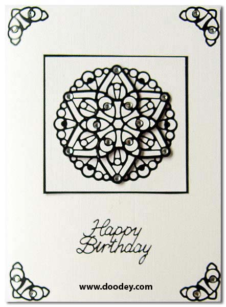 card mandala black white birthday