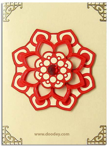 card mandala red with classic corner
