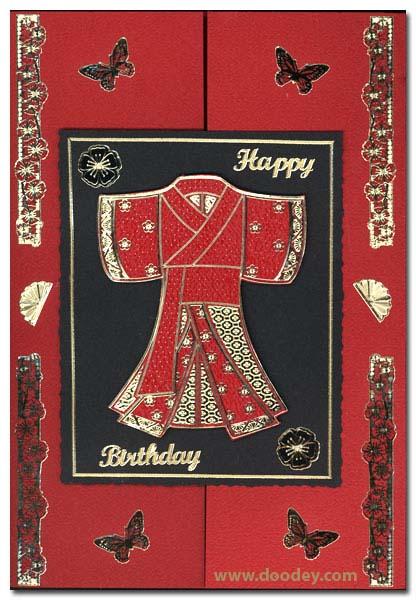 birthday card chinese kimono