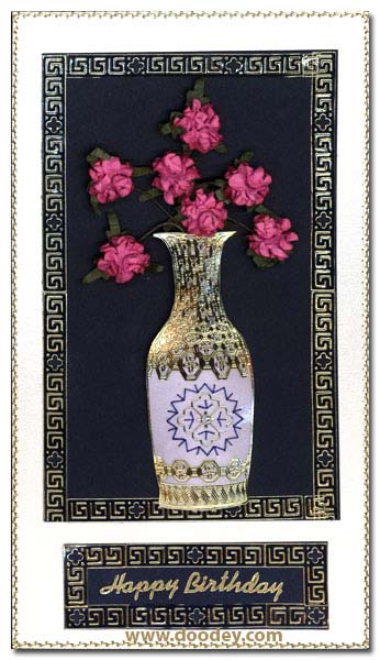 birthday card embroidered vase