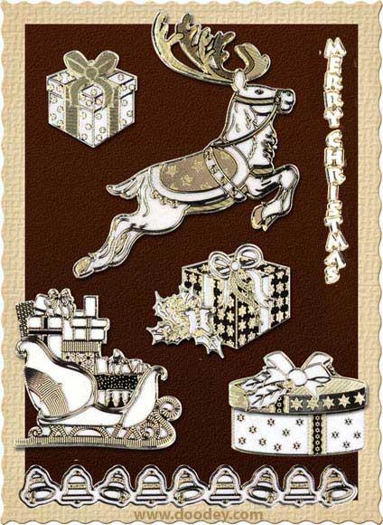 christmas card reindeer and presents