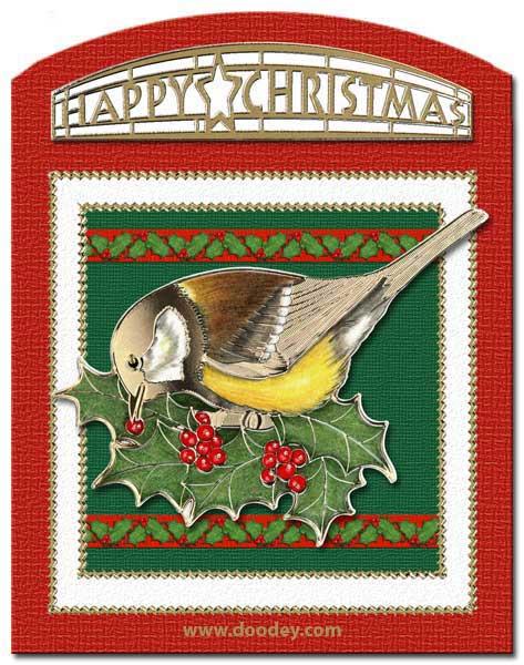 christmas card bird with holy leafs