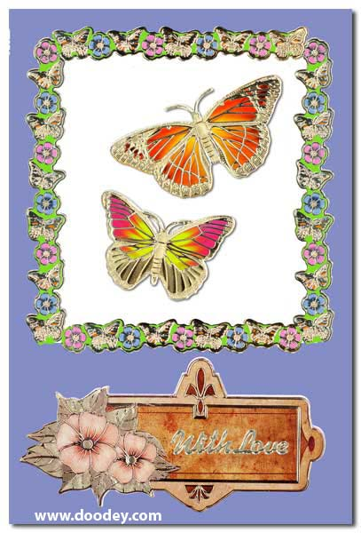card with butterflies and label