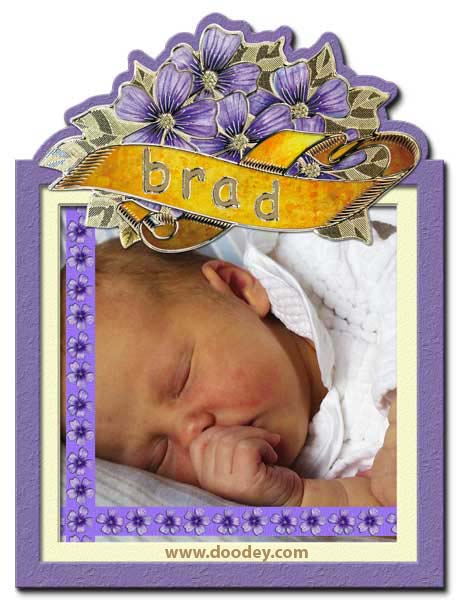 card purple flower label