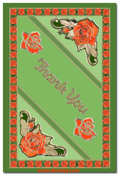card roses with thank you text