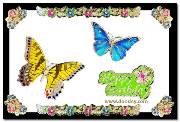 card butterflies with butterfly corner and border