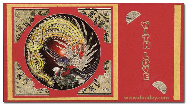 card with love with chinese peacock