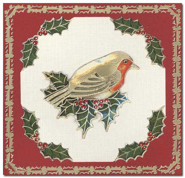 card bird with holly leafs
