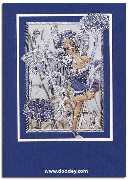 card with cornflower flower fairy
