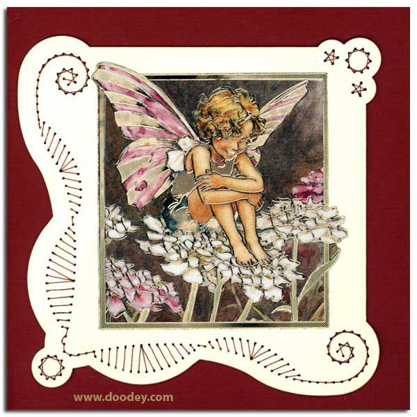 card with flower fairy candytuft with embroidery b