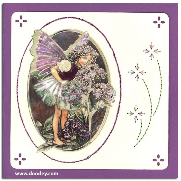 card with flower fairy heliotrope with embroidery
