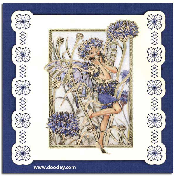 card with flower fairy cornflower with embroidery