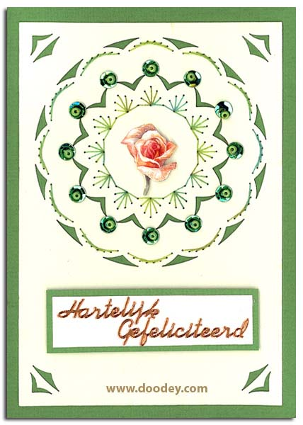 card with embroidery background and rose