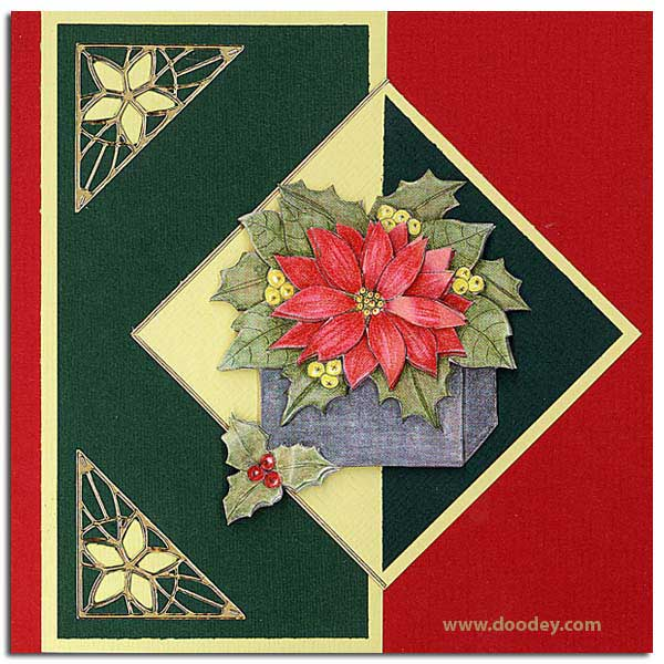 Christmas card with outline star corner