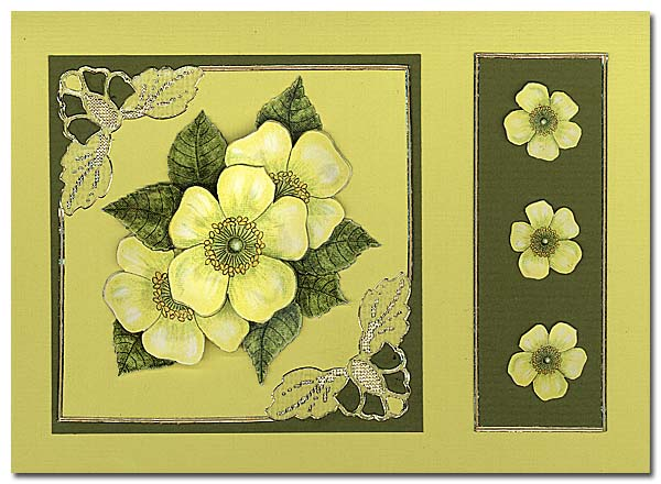 card with yellow flowers and flowercorner