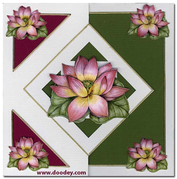 card with pink flowers and zig zag card