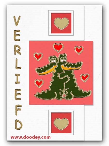 card love with crocodiles