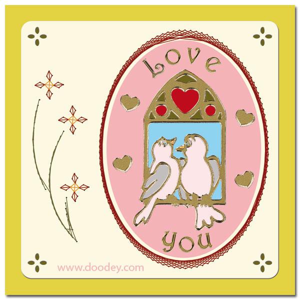 embroidered cardlayer Love birds