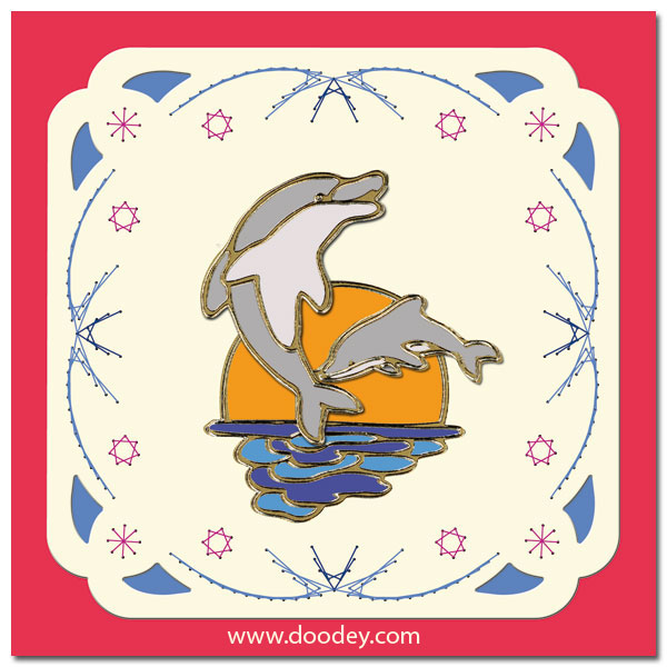 embroidered cardlayer dolphins