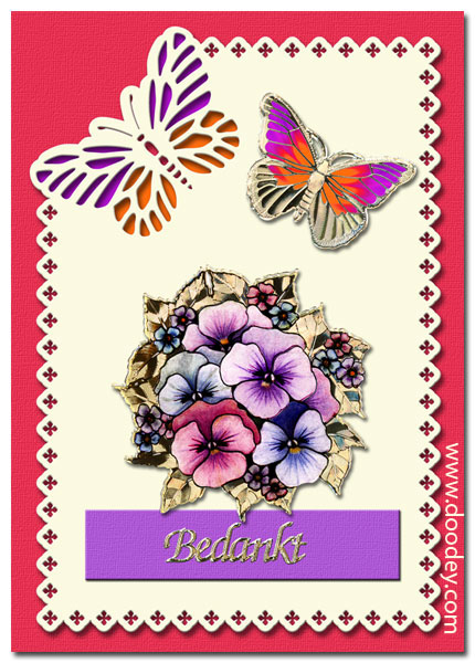 Thank you card Flowers and butterflies