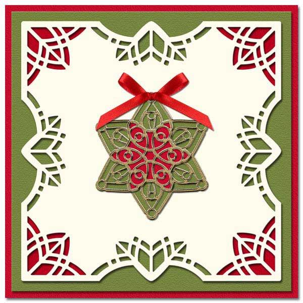 Christmas card with 3D mandala Star