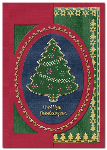 embroidered card with christmas tree